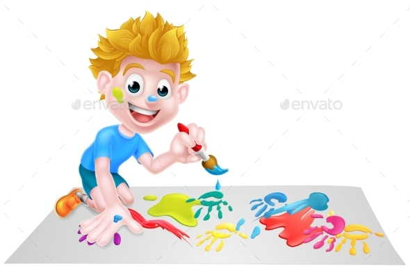 Cartoon Boy Painting with Brush - People Characters
