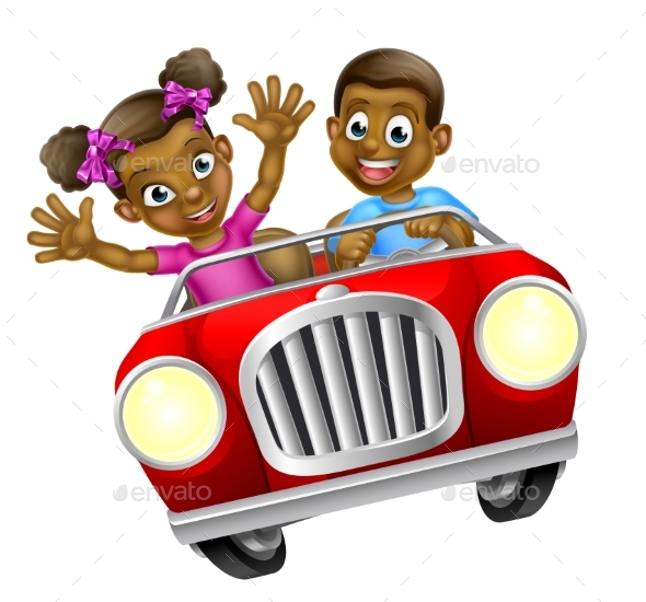 Cartoon Man and Woman Driving Car - People Characters
