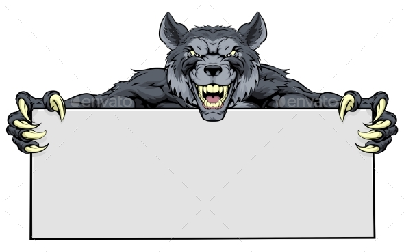 Wolf Sports Mascot Sign - Animals Characters