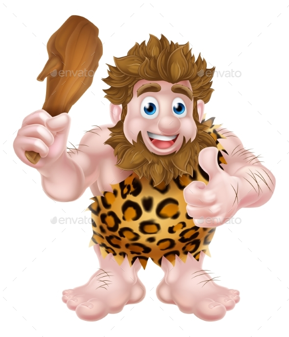 Cartoon Caveman Giving Thumbs Up - People Characters