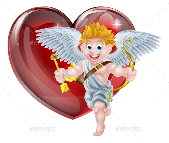 Valentines Cupid and Heart - Valentines Seasons/Holidays