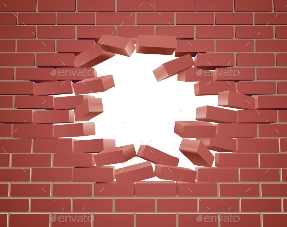 Breaking Brick Wall - Buildings Objects
