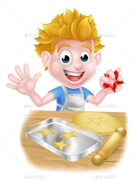 Cartoon Boy Baking - Food Objects
