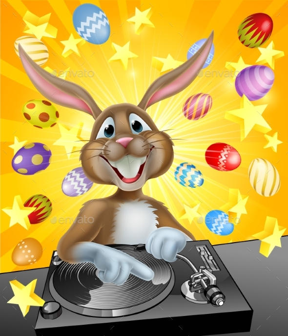 Easter Bunny DJ With Eggs and Stars - Backgrounds Decorative