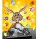 Easter Bunny DJ With Eggs and Stars