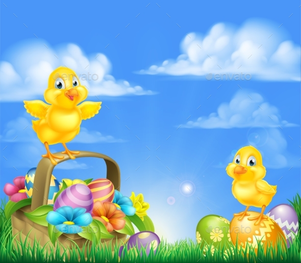 Chicks and Easter Eggs Basket Scene - Animals Characters