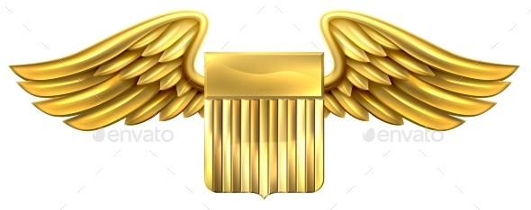 US Gold Shield with Wings - Miscellaneous Vectors