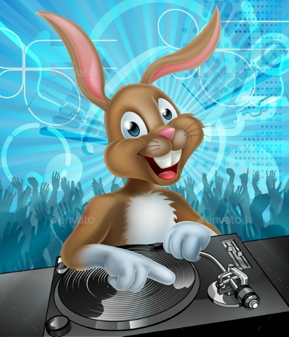 Easter Bunny DJ Party - Backgrounds Decorative