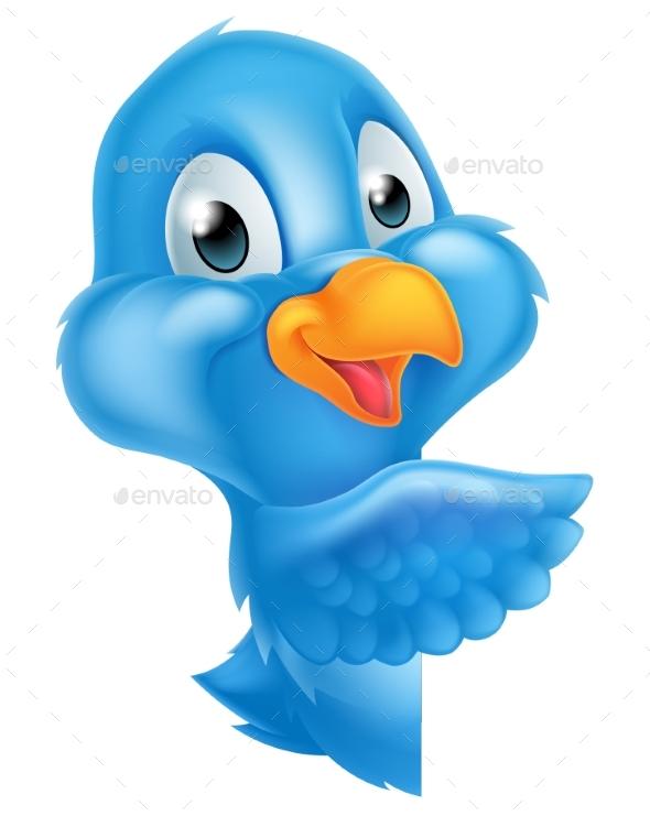 Cartoon Peeking Pointing Bluebird - Animals Characters