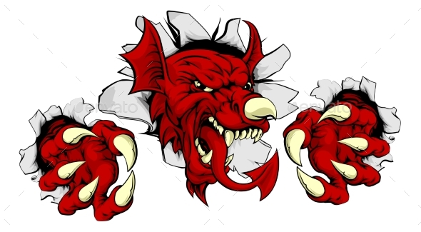 Welsh Red Dragon Smashing Out - Miscellaneous Vectors