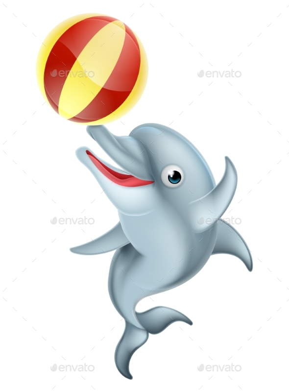 Cartoon Dolphin Playing with Ball - Animals Characters