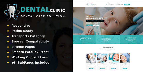 Dental Clinic – Health And Medical HTML Template