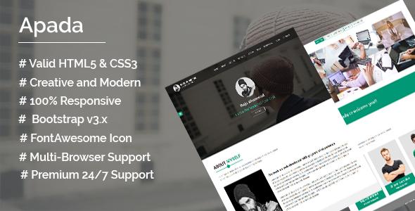 Apada- Freelancer , Photographer, Personal Portfolio HTML5 Template