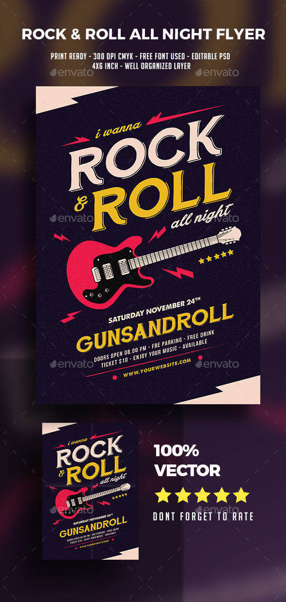 Rock And Roll All Night Music Flyer - Events Flyers