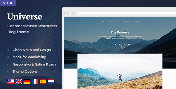 Universe – Clean, Simple & Minimal WordPress Blog Theme for Writer, Travel, Gallery, Lifestyle etc.