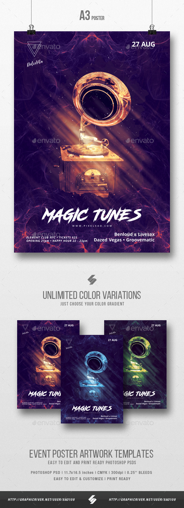 Magic Tunes - Party Flyer / Poster Artwork Template A3 - Clubs & Parties Events