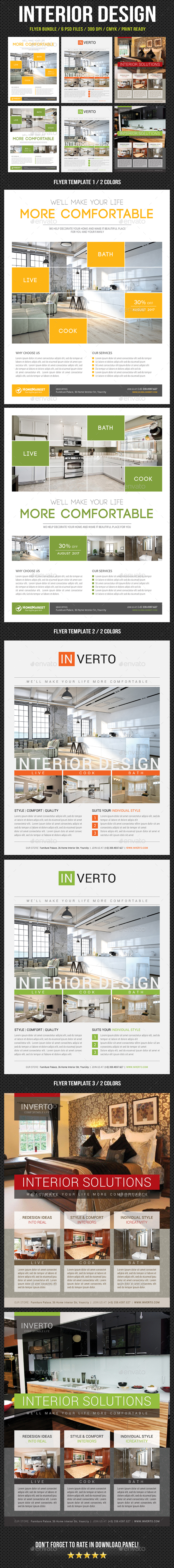 3 Interior Design Flyer Bundle - Commerce Flyers