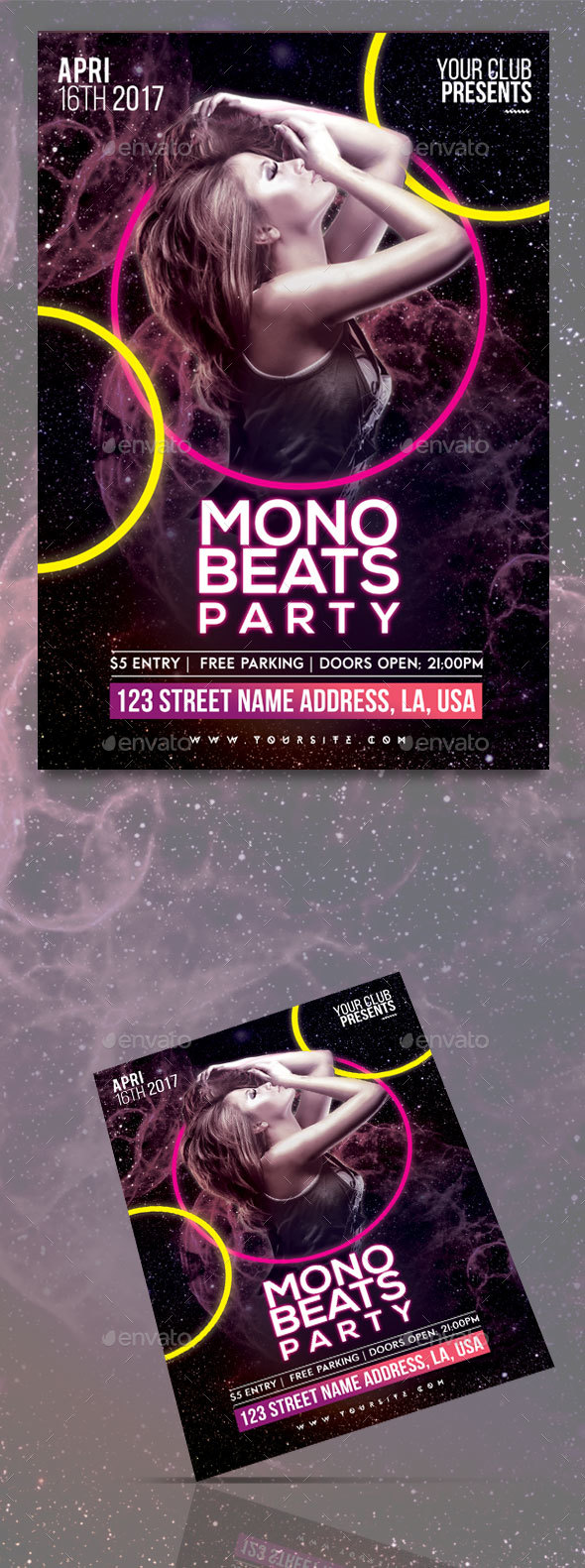 Mono Beats Party Flyer Template - Clubs & Parties Events
