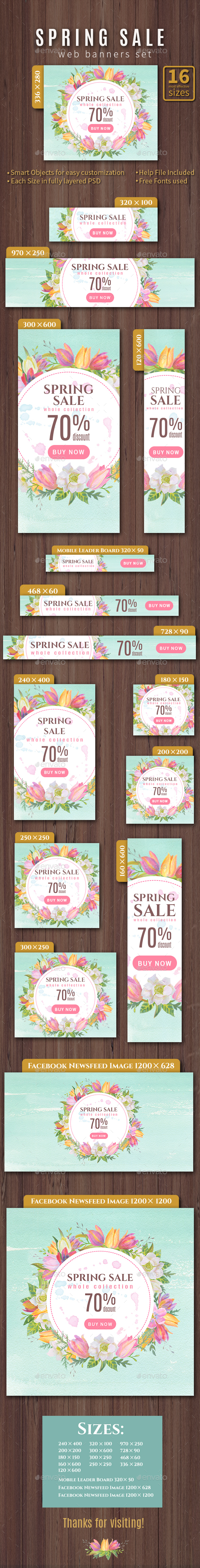 Spring-Summer Sale web banners set - Banners & Ads Web Elements