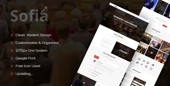 Sofia – One Page Event Conference PSD Template