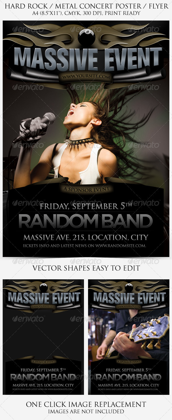 Hard Rock / Metal Poster and Flyer - Clubs & Parties Events