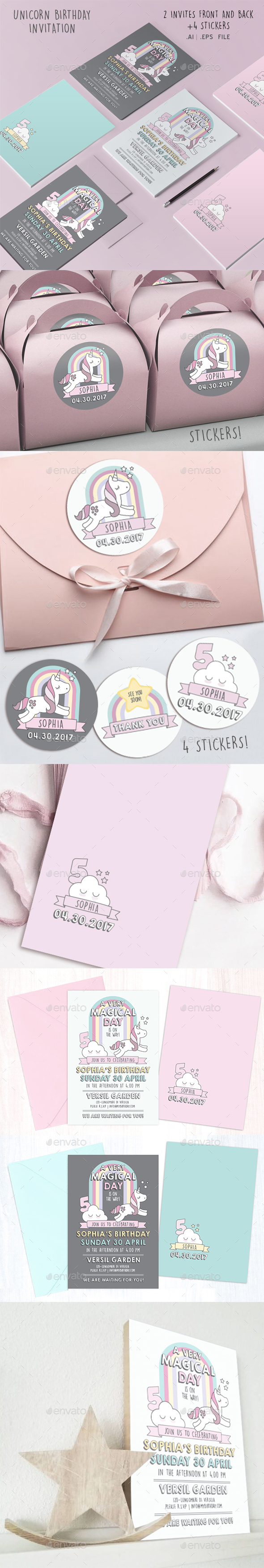 Unicorn Birthday Invite - Invitations Cards & Invites