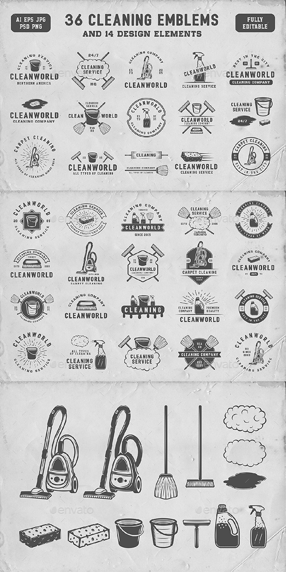 36 Vintage Cleaning Emblems - Badges & Stickers Web Elements
