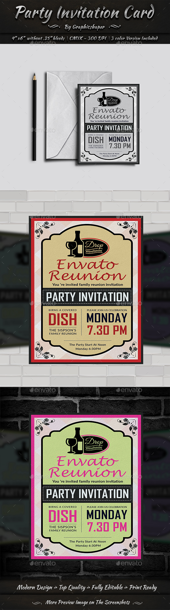 Party Invitation Card - Greeting Cards Cards & Invites
