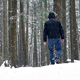 Man Walking In Snowy Forest - VideoHive Item for Sale