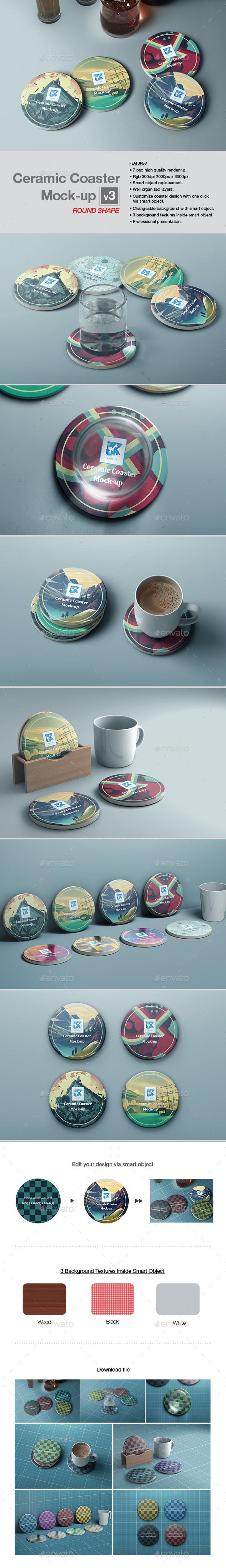 Ceramic Coaster Mock-up v3 - Print Product Mock-Ups