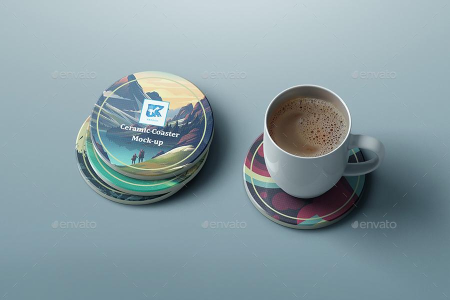 Ceramic Coaster Mock Up V3 By Kenoric Graphicriver