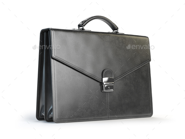 Black leather briefcase isolated on the white background - Stock Photo - Images