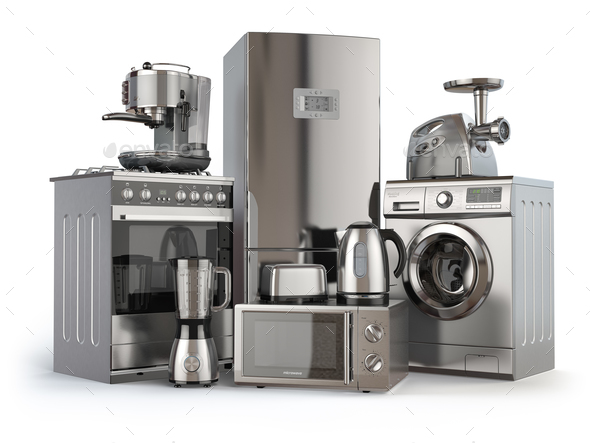 Home appliances. Gas cooker, refrigerator,  microwave and  washi - Stock Photo - Images