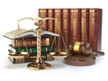 Gold scales of justice, gavel and books with differents field of - PhotoDune Item for Sale