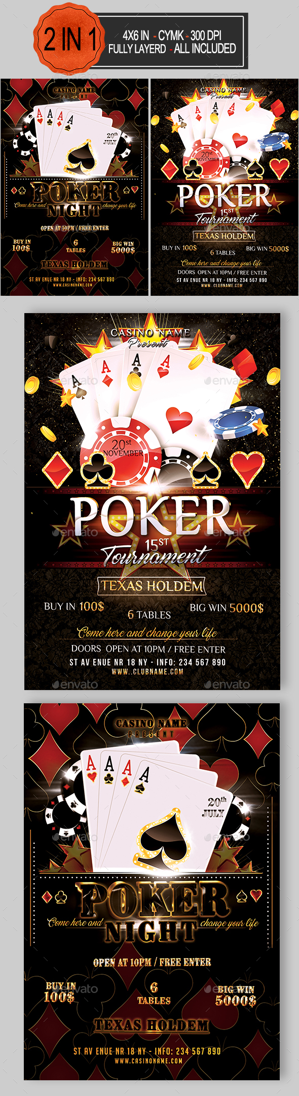 Poker Flyer Bundle - Events Flyers