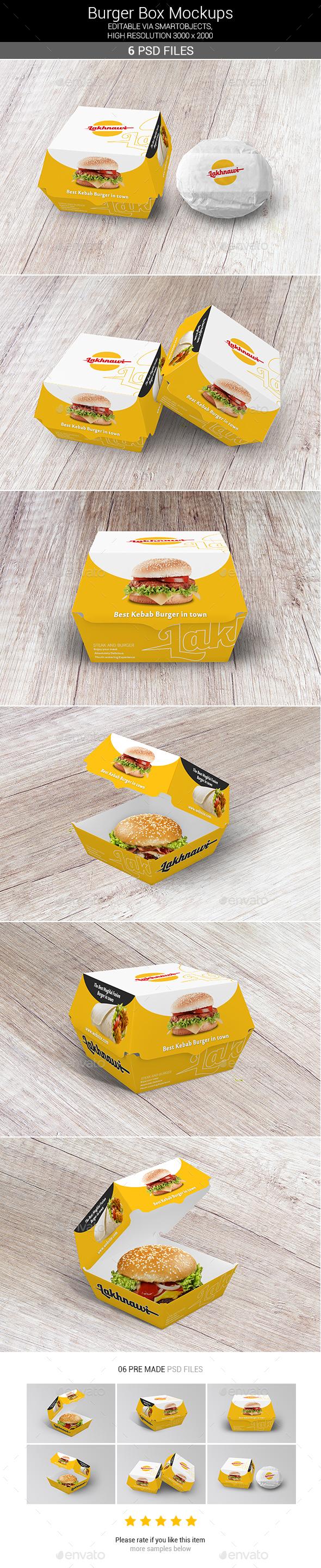 Burger Box Mockups - Food and Drink Packaging