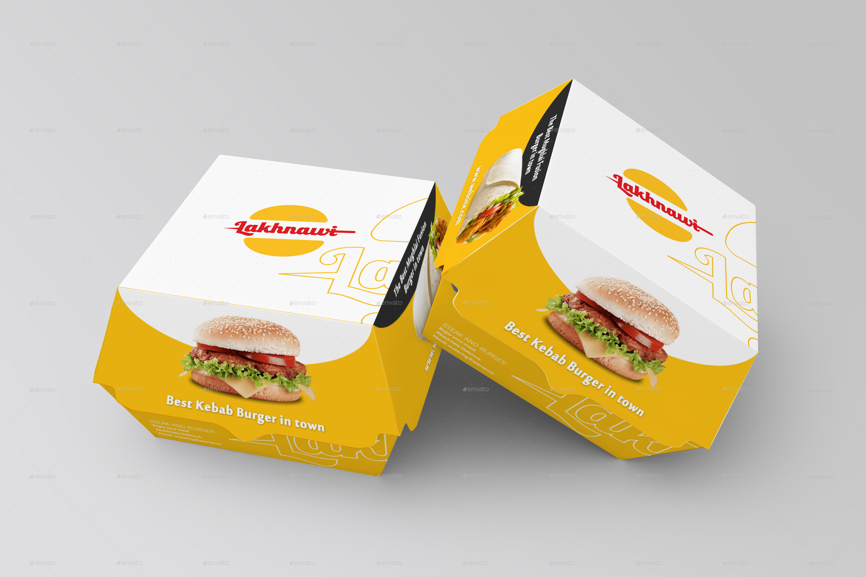 burger box mockups by shrdesign graphicriver