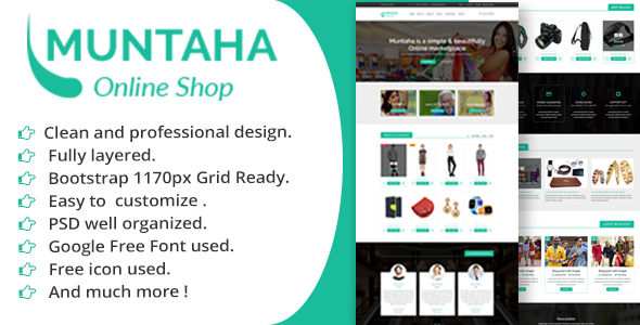 Muntaha Ecommerce PSD Template - Retail PSD Templates