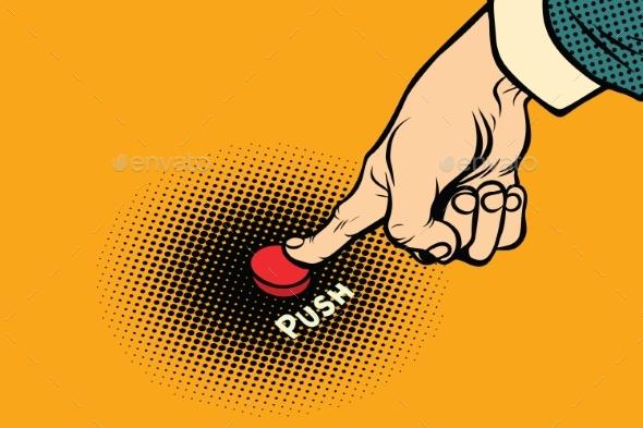 Hand Presses Red Button - Miscellaneous Vectors