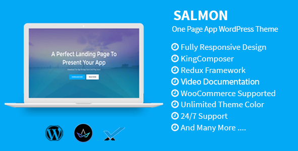 Salmon - One Page App WordPress Theme - Software Technology