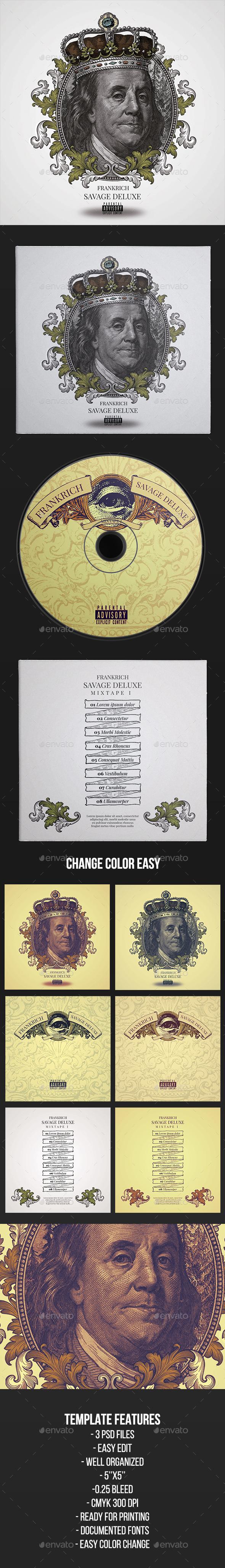 Savage Deluxe - CD Cover Artwork Template - CD & DVD Artwork Print Templates