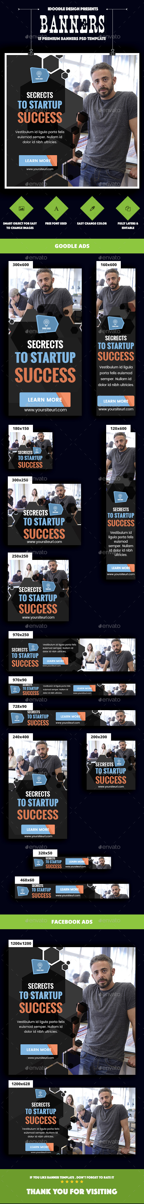 Multipurpose, Business, Startup Banners Ads - Banners & Ads Web Elements
