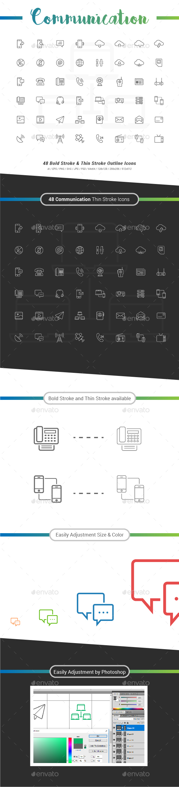 48 Communication Outline Stroke Icon - Technology Icons
