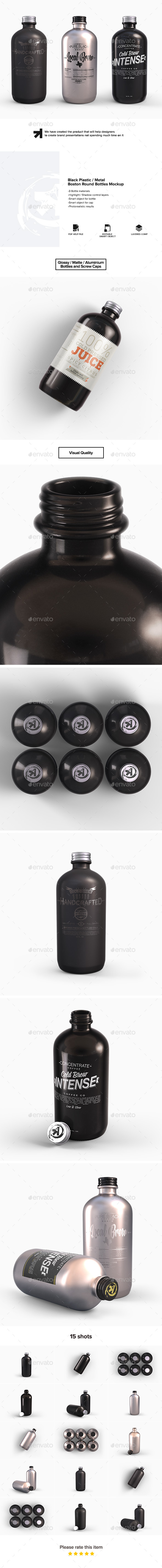 Plastic Metal Boston Round Bottles Mockup - Food and Drink Packaging