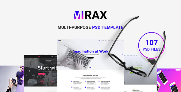 Mirax - Multipurpose Creative, Corporate, Portfolio, Blog PSD Template