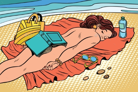 Naked Woman Sunbathing on the Beach - People Characters