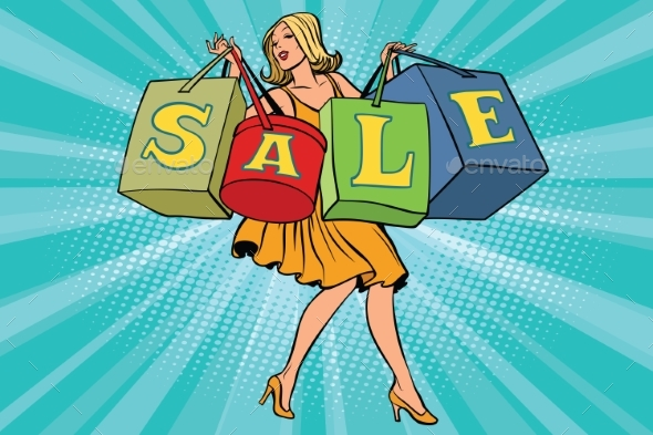 Blond Woman with Shopping Bags Sale - People Characters