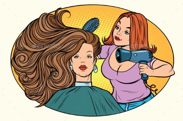 Blow Drying Women Hair Barber - People Characters