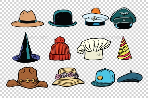 Hat Set Collection on Isolated Background - Man-made Objects Objects