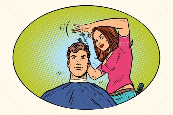 Mens Haircut Female Hairdresser - Industries Business